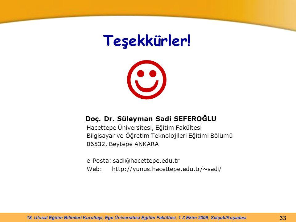 Teşekkürler!  Doç. Dr. Süleyman Sadi SEFEROĞLU