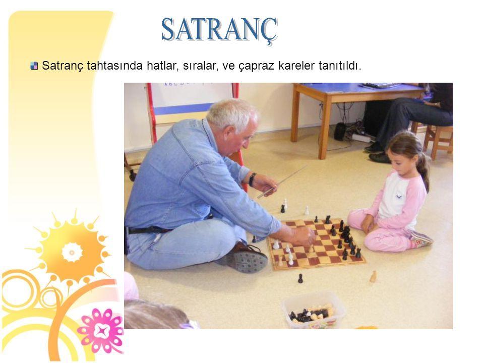 SATRANÇ Satranç tahtasında hatlar, sıralar, ve çapraz kareler tanıtıldı. 6
