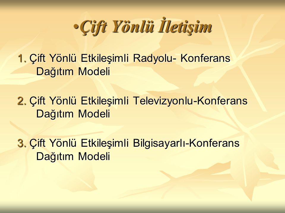 Çift Yönlü İletişim 1. Çift Yönlü Etkileşimli Radyolu- Konferans Dağıtım Modeli. 2. Çift Yönlü Etkileşimli Televizyonlu-Konferans Dağıtım Modeli.