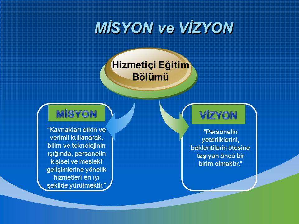 MİSYON ve VİZYON Hizmetiçi Eğitim Bölümü