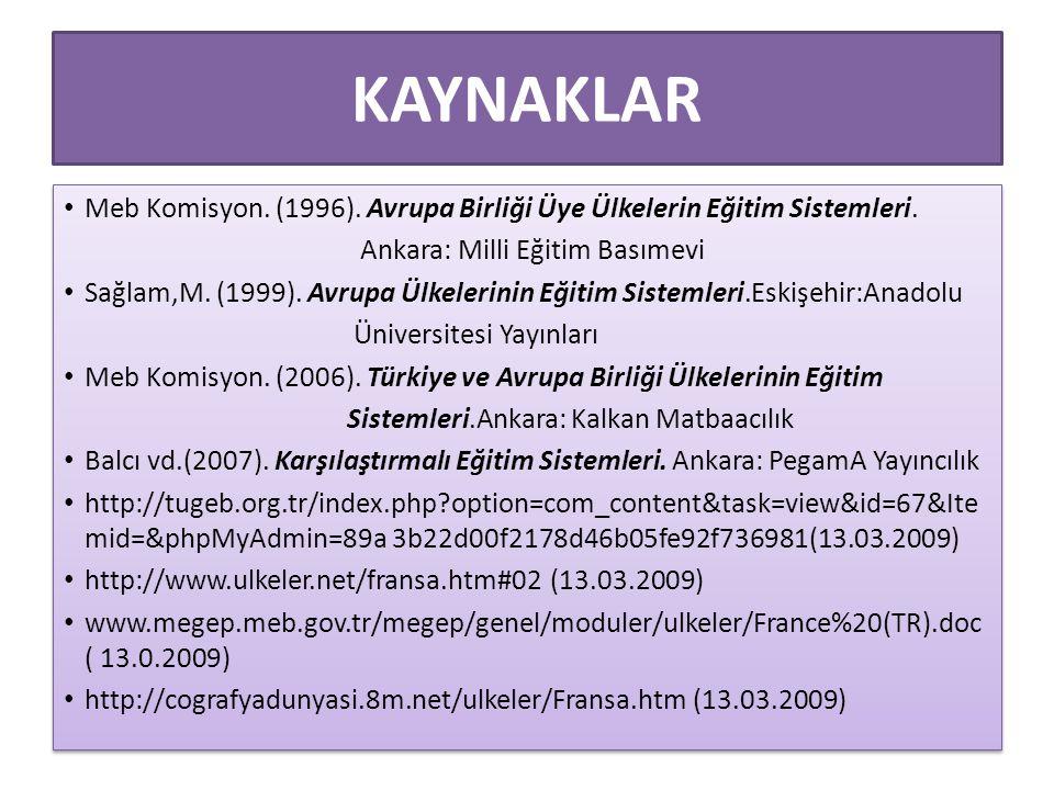KAYNAKLAR Meb Komisyon. (1996). Avrupa Birliği Üye Ülkelerin Eğitim Sistemleri. Ankara: Milli Eğitim Basımevi.