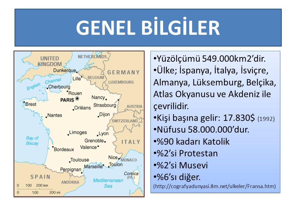 GENEL BİLGİLER Yüzölçümü 549.000km2'dir.