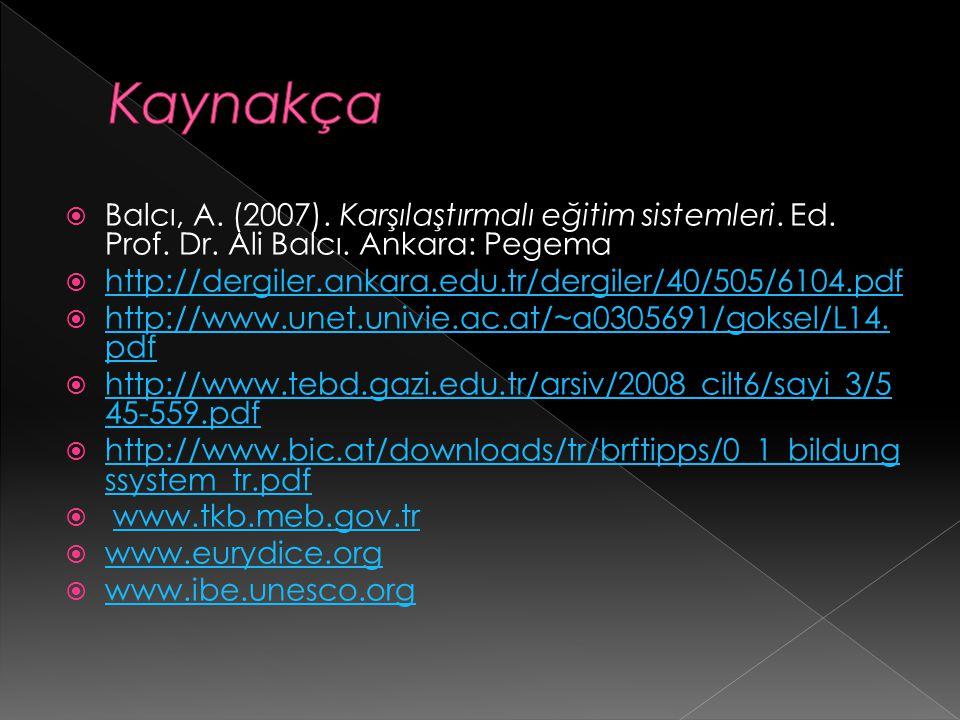 Kaynakça Balcı, A. (2007). Karşılaştırmalı eğitim sistemleri. Ed. Prof. Dr. Ali Balcı. Ankara: Pegema.