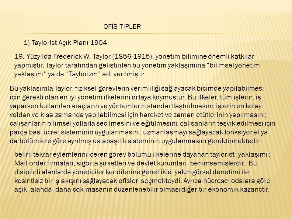 OFİS TİPLERİ 1) Taylorist Açık Planı 1904.