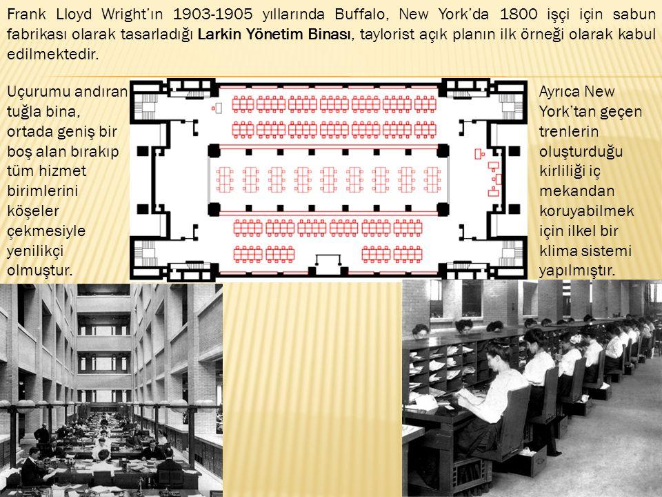 Frank Lloyd Wright'ın 1903-1905 yıllarında Buffalo, New York'da 1800 işçi için sabun fabrikası olarak tasarladığı Larkin Yönetim Binası, taylorist açık planın ilk örneği olarak kabul edilmektedir.