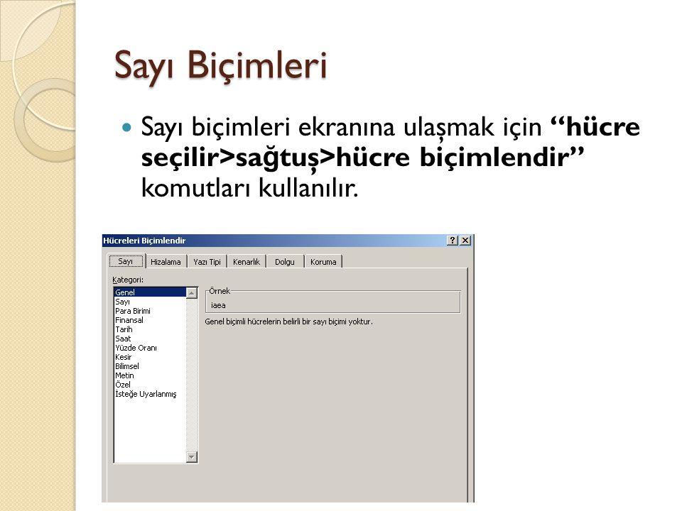Sayı Biçimleri Sayı biçimleri ekranına ulaşmak için hücre seçilir>sağtuş>hücre biçimlendir komutları kullanılır.