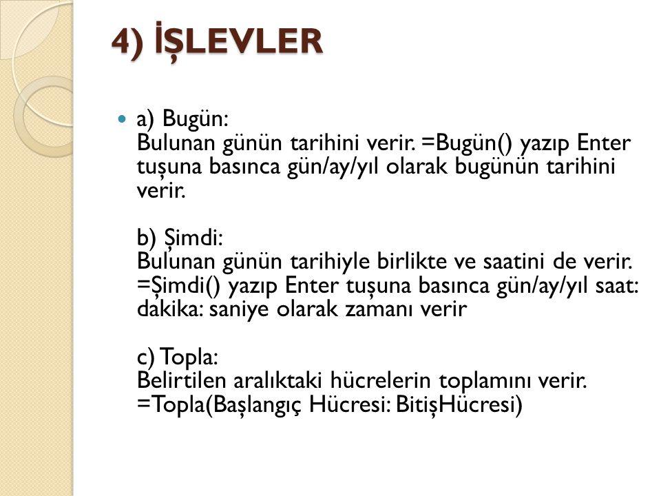 4) İŞLEVLER