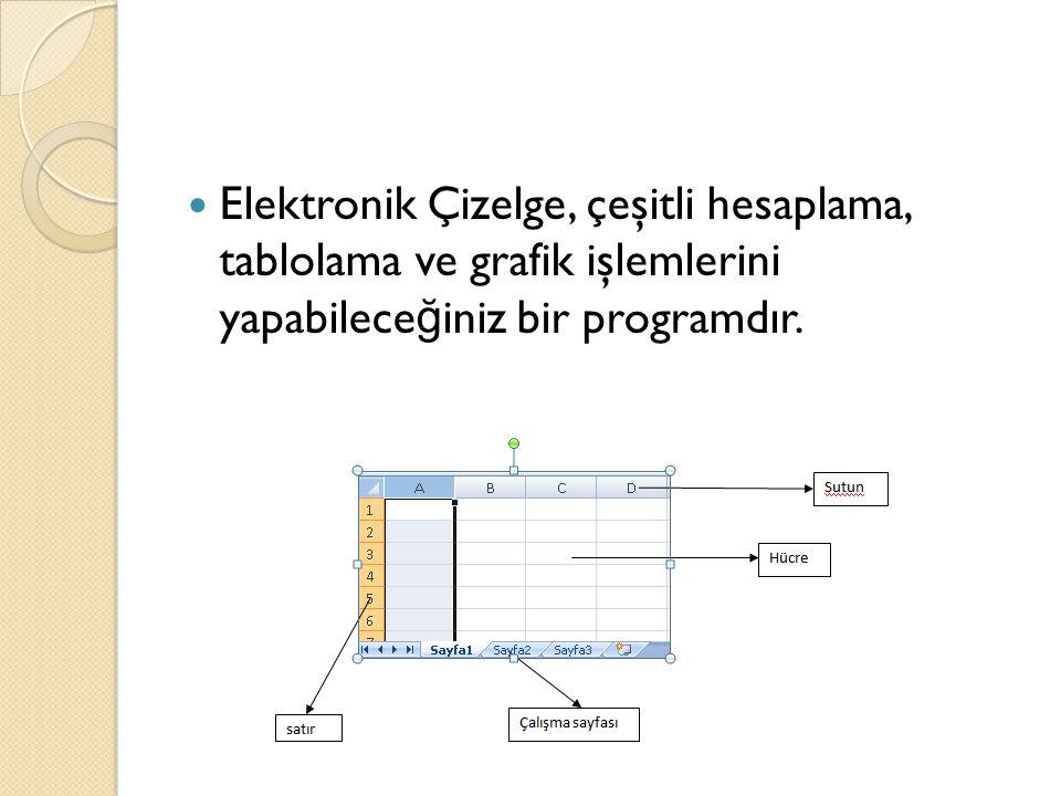 Elektronik Çizelge, çeşitli hesaplama, tablolama ve grafik işlemlerini yapabileceğiniz bir programdır.