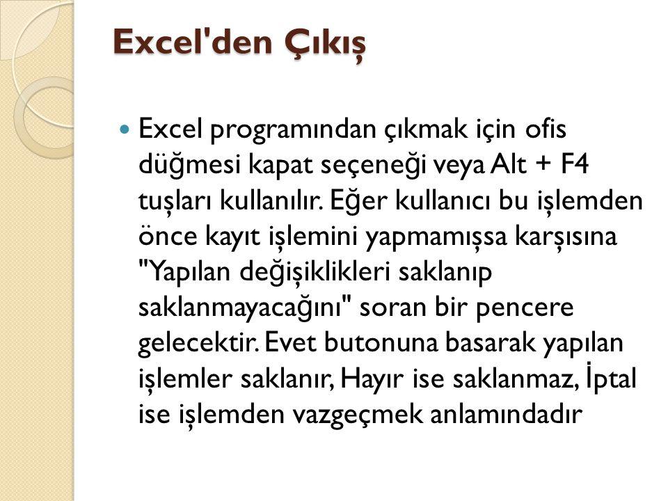 Excel den Çıkış