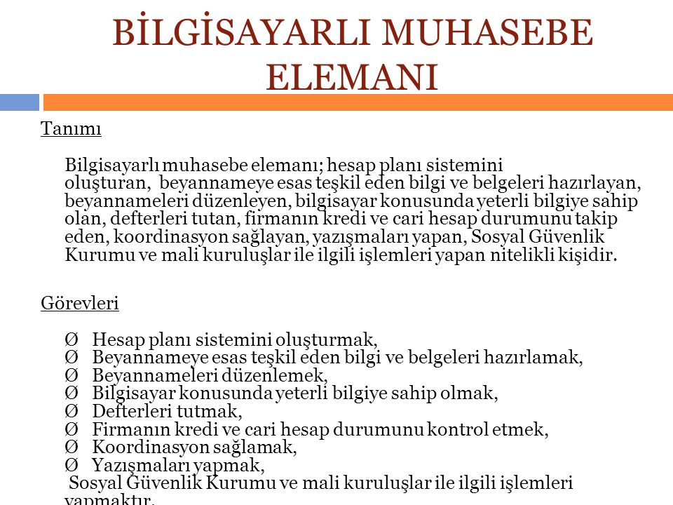 BİLGİSAYARLI MUHASEBE ELEMANI