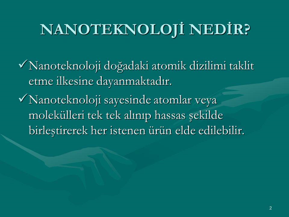 NANOTEKNOLOJİ NEDİR Nanoteknoloji doğadaki atomik dizilimi taklit etme ilkesine dayanmaktadır.