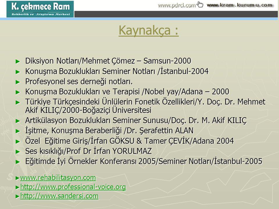 Kaynakça : Diksiyon Notları/Mehmet Çömez – Samsun-2000