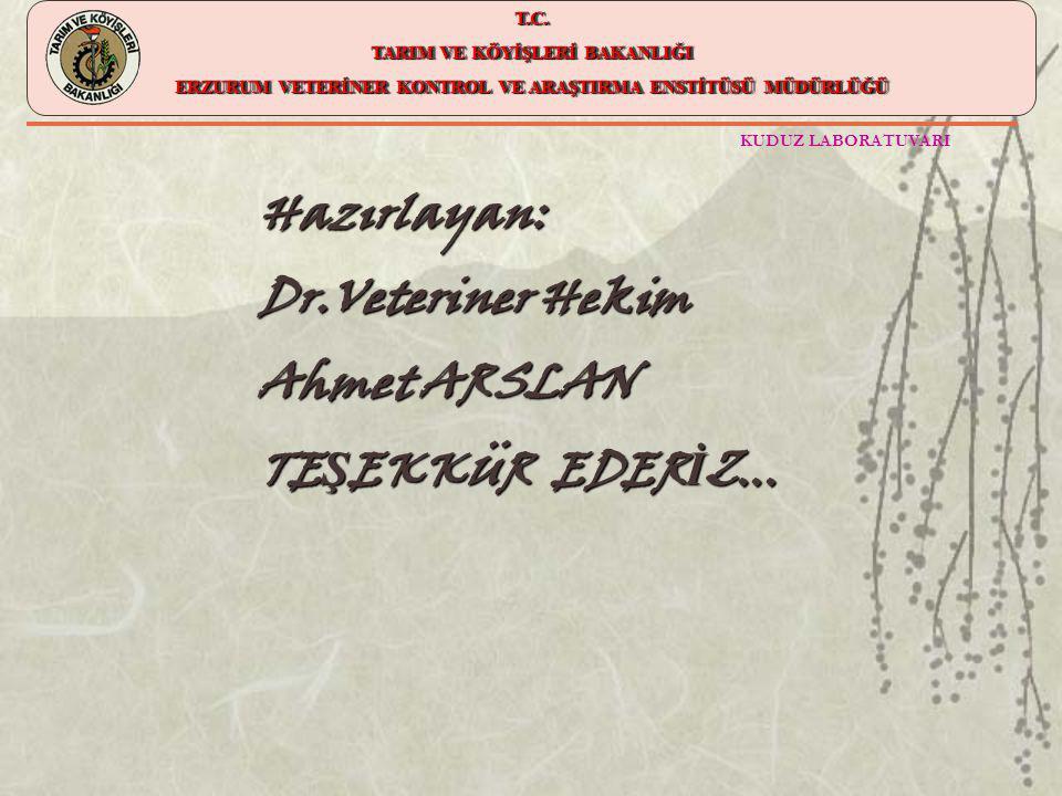 Hazırlayan: Dr.Veteriner Hekim Ahmet ARSLAN TEŞEKKÜR EDERİZ...
