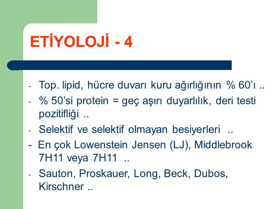 ETİYOLOJİ - 4 Top. lipid, hücre duvarı kuru ağırlığının % 60'ı ..
