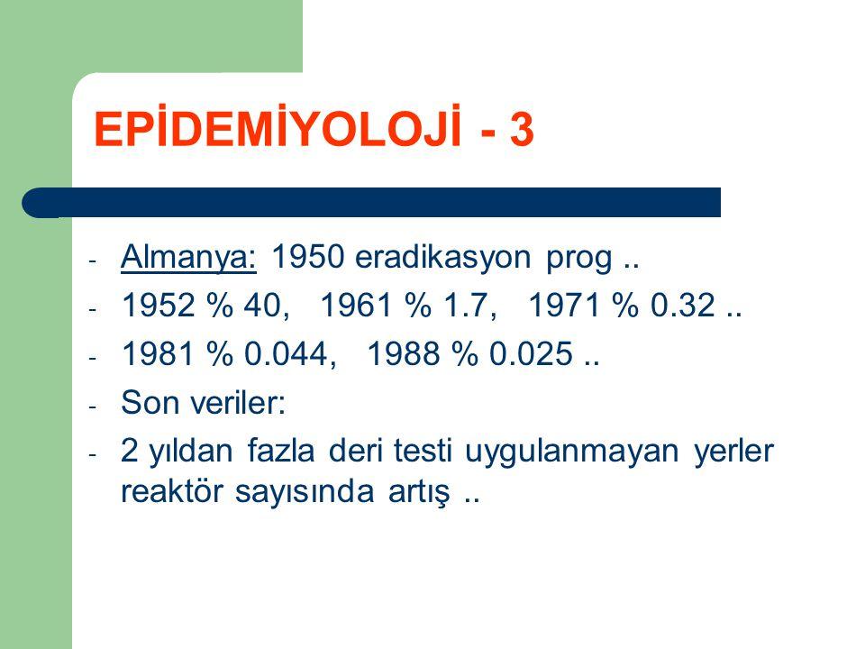 EPİDEMİYOLOJİ - 3 Almanya: 1950 eradikasyon prog ..