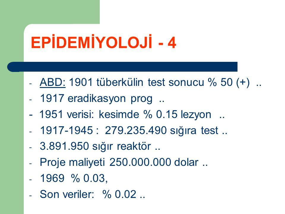 EPİDEMİYOLOJİ - 4 ABD: 1901 tüberkülin test sonucu % 50 (+) ..