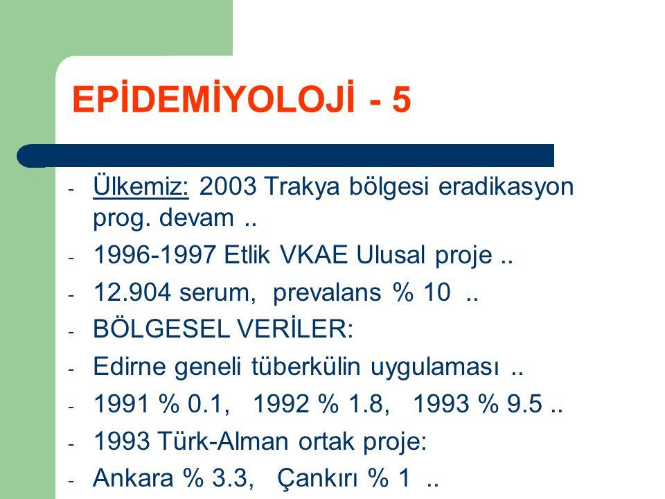 EPİDEMİYOLOJİ - 5 Ülkemiz: 2003 Trakya bölgesi eradikasyon prog. devam .. 1996-1997 Etlik VKAE Ulusal proje ..
