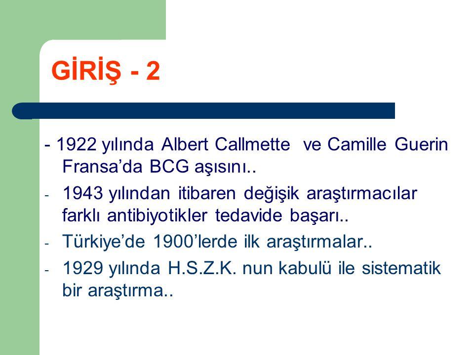 GİRİŞ - 2 - 1922 yılında Albert Callmette ve Camille Guerin Fransa'da BCG aşısını..