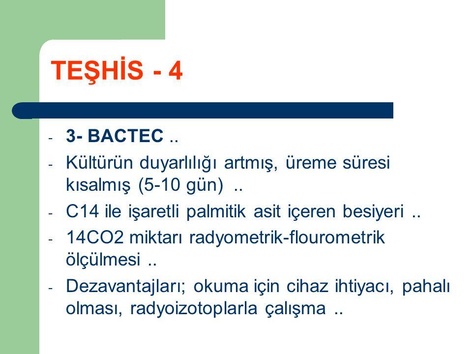 TEŞHİS - 4 3- BACTEC .. Kültürün duyarlılığı artmış, üreme süresi kısalmış (5-10 gün) .. C14 ile işaretli palmitik asit içeren besiyeri ..