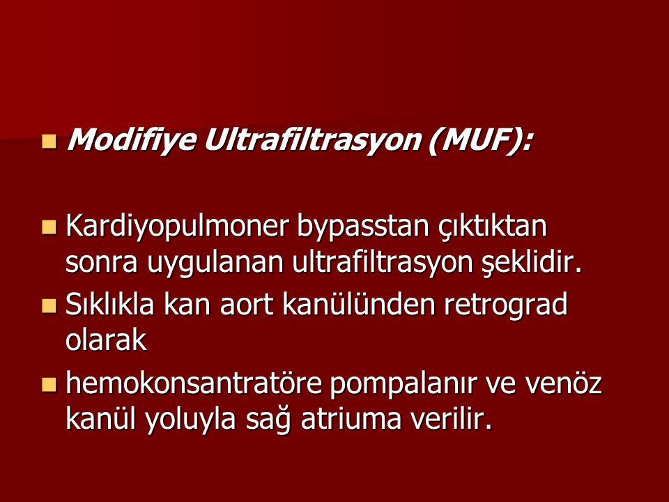 Modifiye Ultrafiltrasyon (MUF):