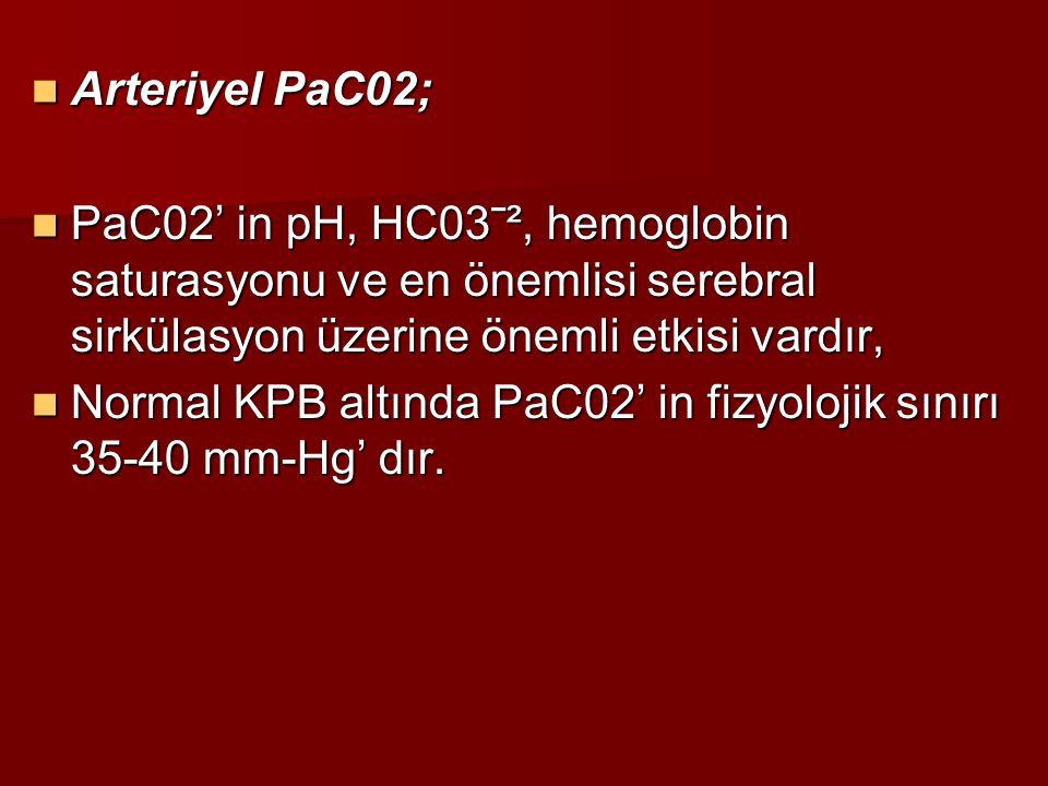 Arteriyel PaC02; PaC02' in pH, HC03ˉ², hemoglobin saturasyonu ve en önemlisi serebral sirkülasyon üzerine önemli etkisi vardır,
