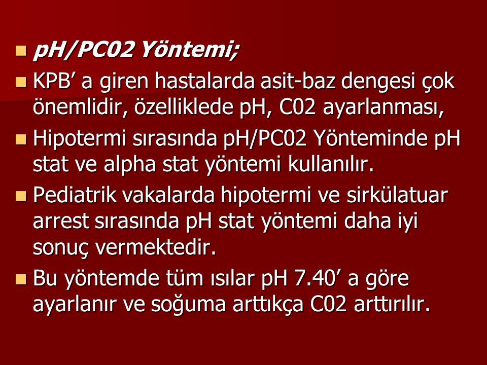 pH/PC02 Yöntemi; KPB' a giren hastalarda asit-baz dengesi çok önemlidir, özelliklede pH, C02 ayarlanması,