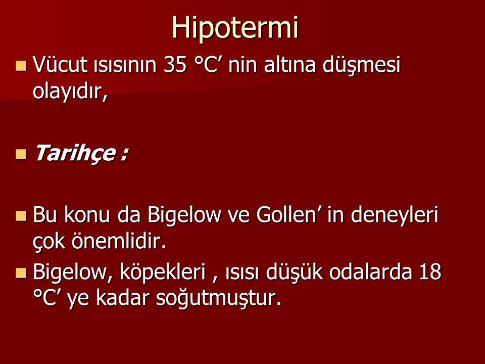 Hipotermi Vücut ısısının 35 °C' nin altına düşmesi olayıdır, Tarihçe :