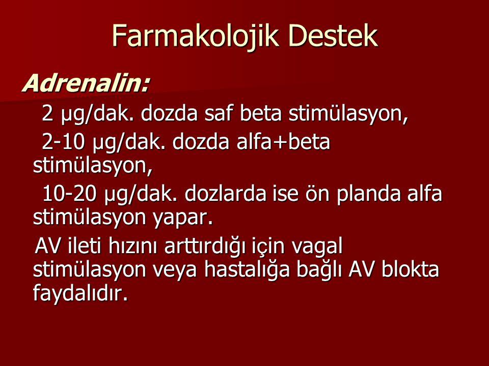 Farmakolojik Destek Adrenalin: 2 µg/dak. dozda saf beta stimülasyon,