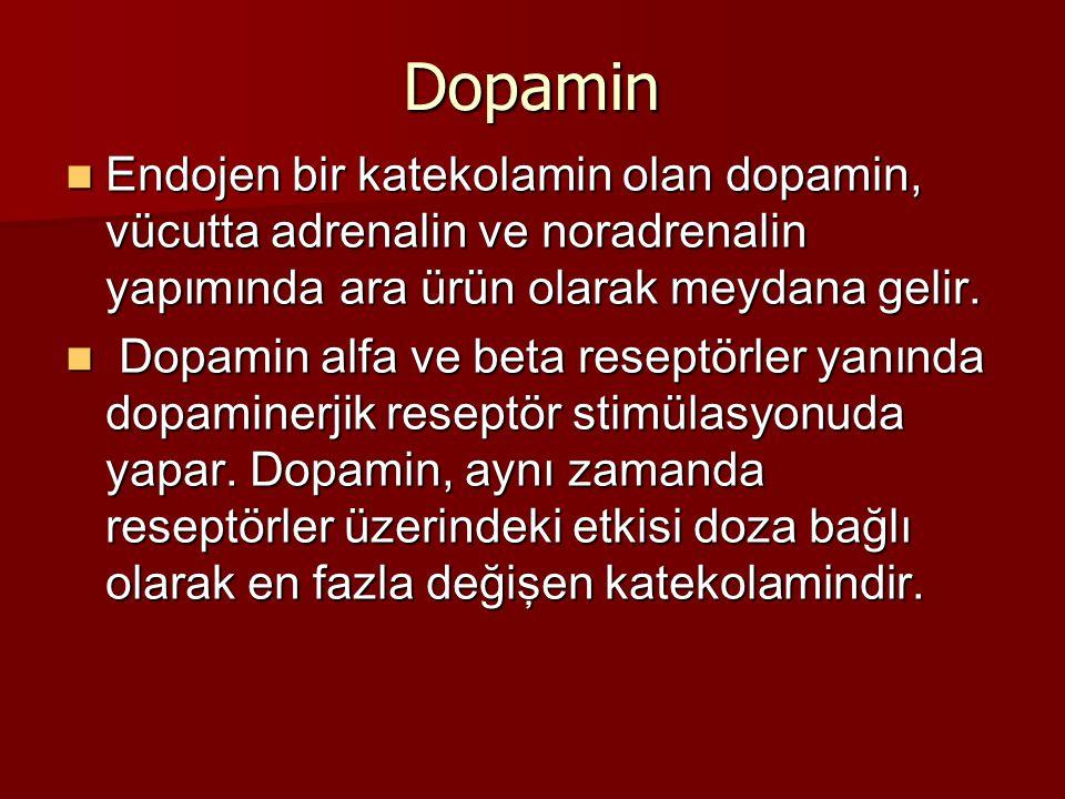 Dopamin Endojen bir katekolamin olan dopamin, vücutta adrenalin ve noradrenalin yapımında ara ürün olarak meydana gelir.