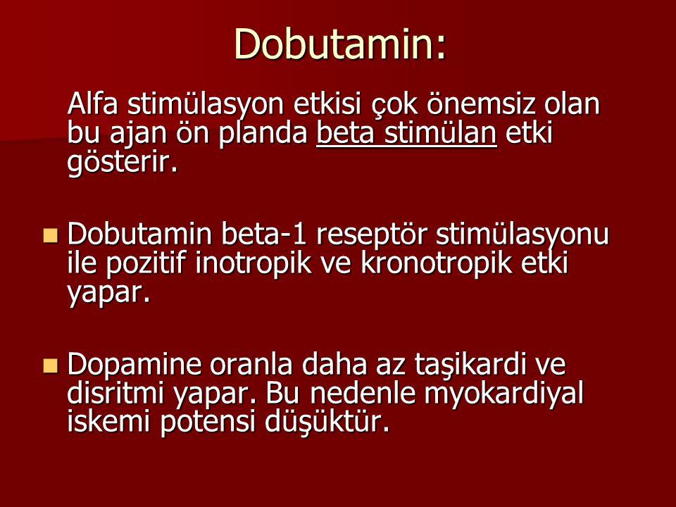 Dobutamin: Alfa stimülasyon etkisi çok önemsiz olan bu ajan ön planda beta stimülan etki gösterir.
