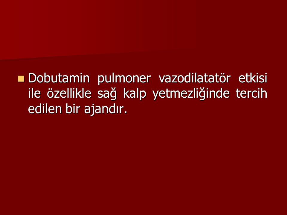 Dobutamin pulmoner vazodilatatör etkisi ile özellikle sağ kalp yetmezliğinde tercih edilen bir ajandır.