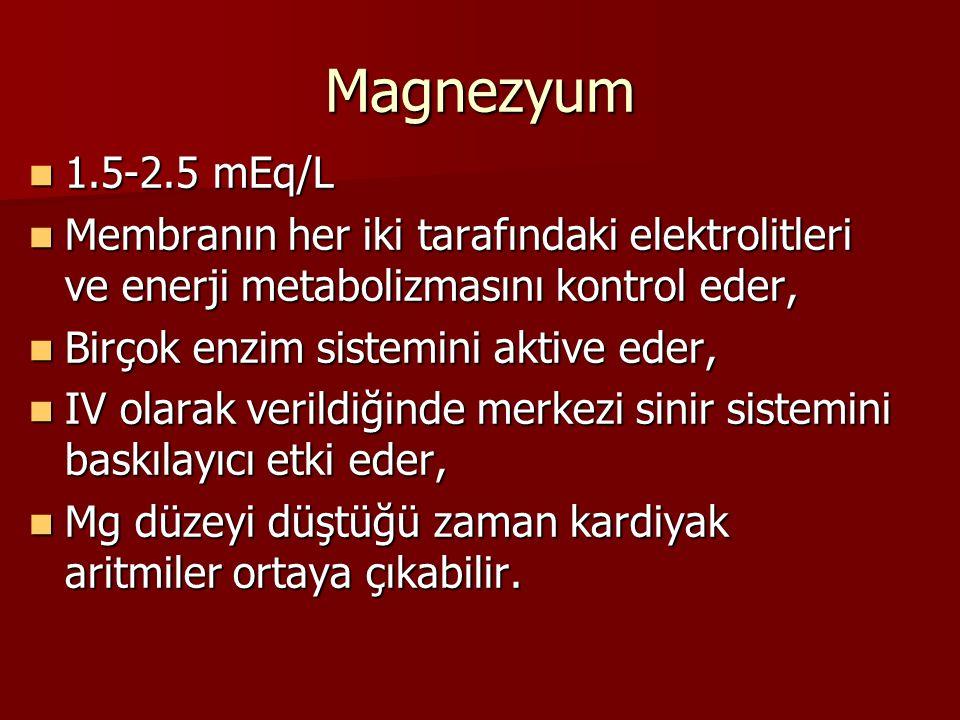 Magnezyum 1.5-2.5 mEq/L. Membranın her iki tarafındaki elektrolitleri ve enerji metabolizmasını kontrol eder,