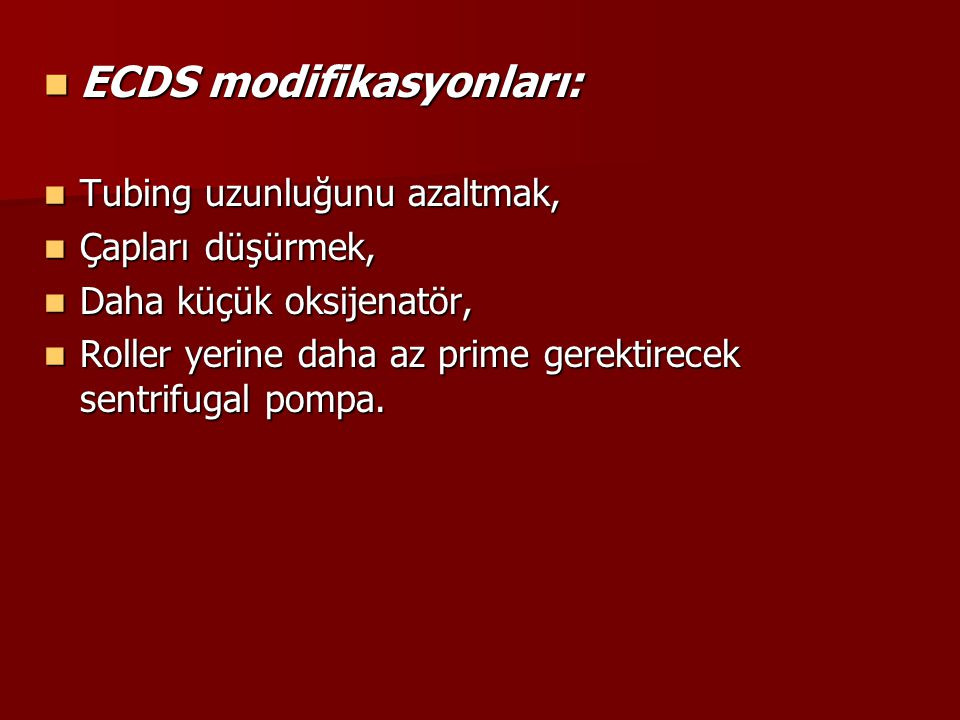 ECDS modifikasyonları: