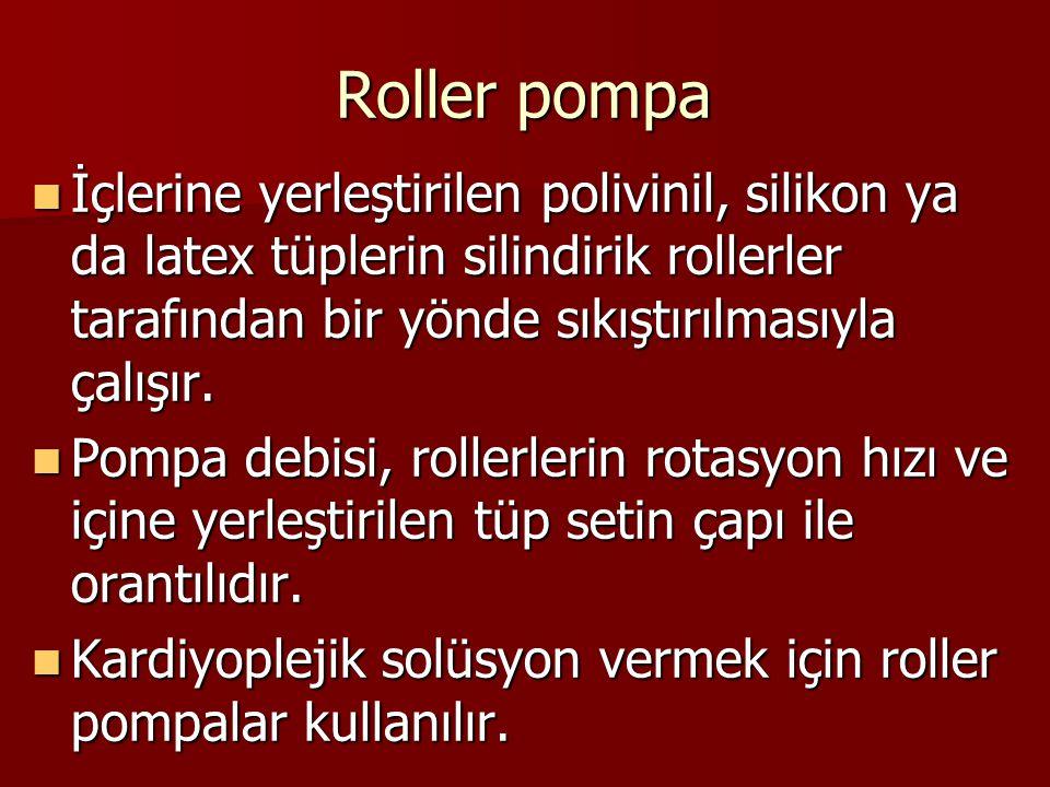 Roller pompa İçlerine yerleştirilen polivinil, silikon ya da latex tüplerin silindirik rollerler tarafından bir yönde sıkıştırılmasıyla çalışır.