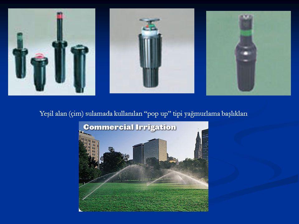 Yeşil alan (çim) sulamada kullanılan pop up tipi yağmurlama başlıkları