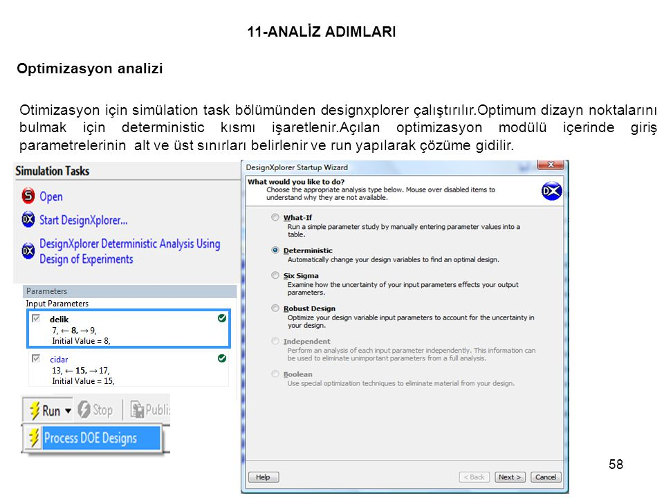 11-ANALİZ ADIMLARI Optimizasyon analizi
