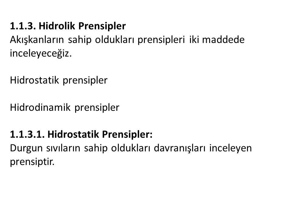 1.1.3. Hidrolik Prensipler Akışkanların sahip oldukları prensipleri iki maddede inceleyeceğiz. Hidrostatik prensipler.