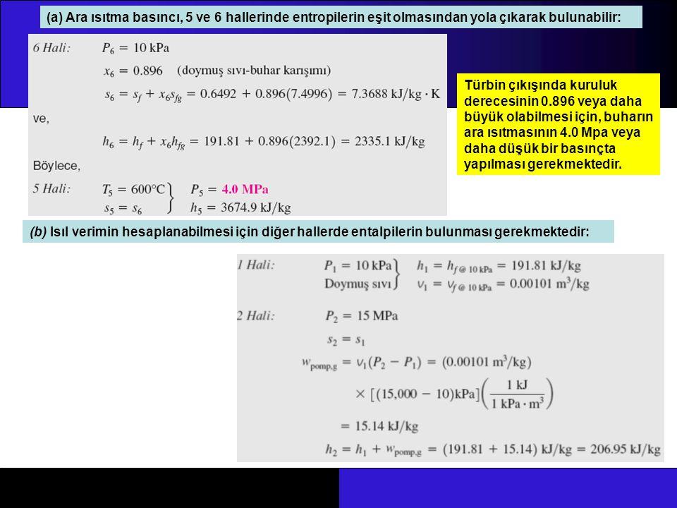 (a) Ara ısıtma basıncı, 5 ve 6 hallerinde entropilerin eşit olmasından yola çıkarak bulunabilir: