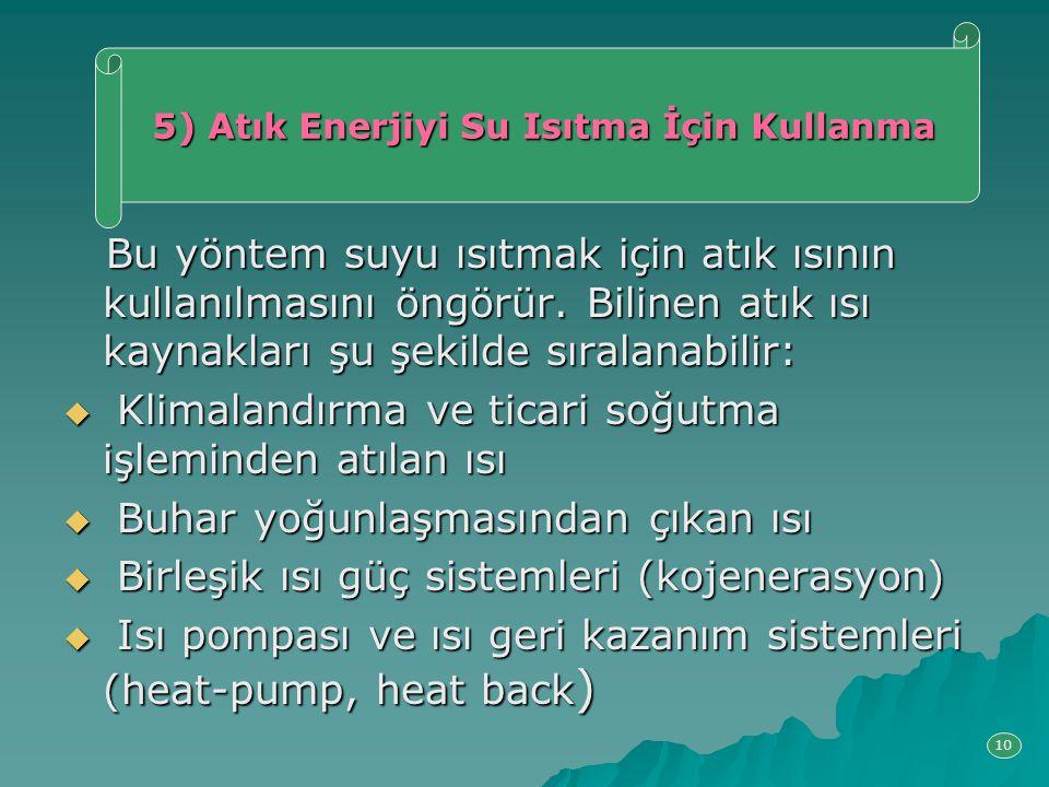 5) Atık Enerjiyi Su Isıtma İçin Kullanma