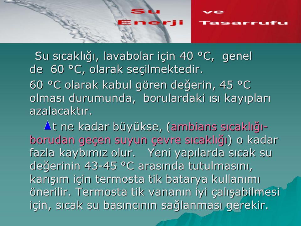Su sıcaklığı, lavabolar için 40 °C, genel de 60 °C, olarak seçilmektedir.
