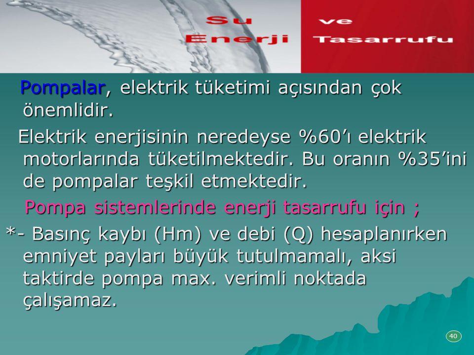 Pompalar, elektrik tüketimi açısından çok önemlidir.