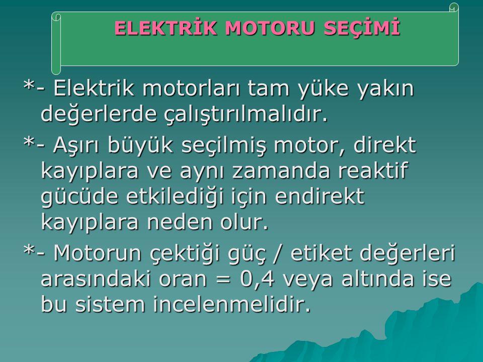 ELEKTRİK MOTORU SEÇİMİ
