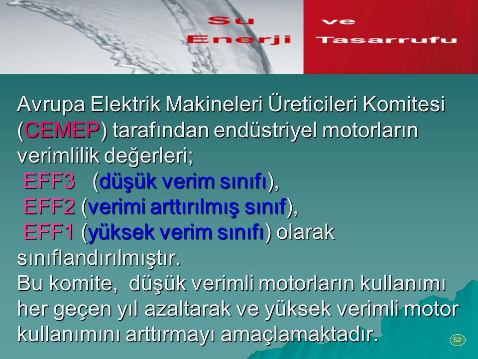 Avrupa Elektrik Makineleri Üreticileri Komitesi (CEMEP) tarafından endüstriyel motorların verimlilik değerleri; EFF3 (düşük verim sınıfı), EFF2 (verimi arttırılmış sınıf), EFF1 (yüksek verim sınıfı) olarak sınıflandırılmıştır. Bu komite, düşük verimli motorların kullanımı her geçen yıl azaltarak ve yüksek verimli motor kullanımını arttırmayı amaçlamaktadır.