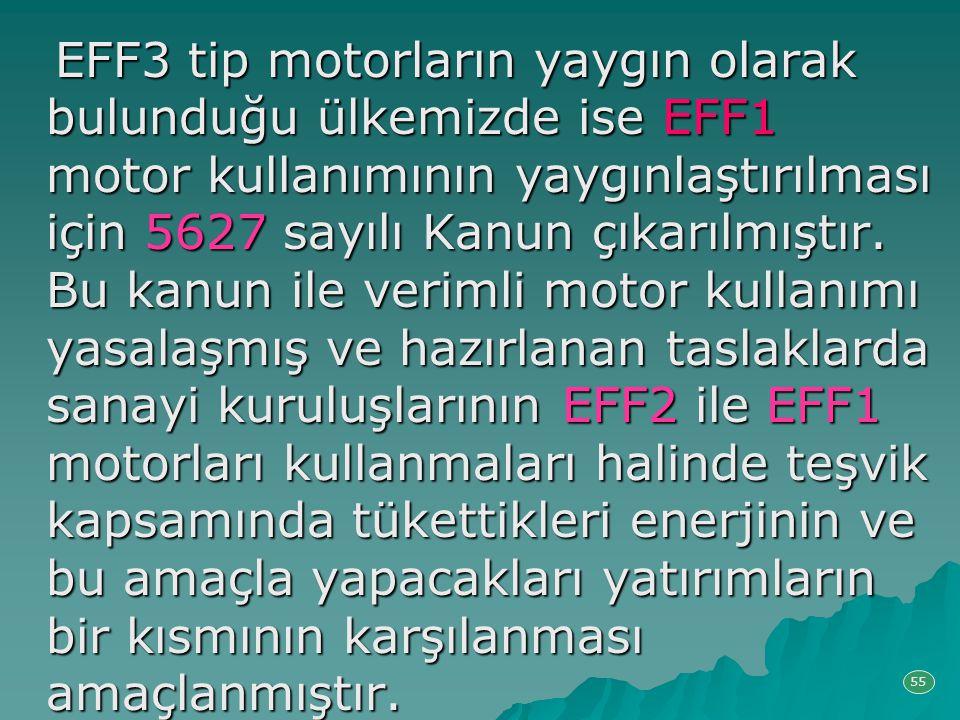 EFF3 tip motorların yaygın olarak bulunduğu ülkemizde ise EFF1 motor kullanımının yaygınlaştırılması için 5627 sayılı Kanun çıkarılmıştır. Bu kanun ile verimli motor kullanımı yasalaşmış ve hazırlanan taslaklarda sanayi kuruluşlarının EFF2 ile EFF1 motorları kullanmaları halinde teşvik kapsamında tükettikleri enerjinin ve bu amaçla yapacakları yatırımların bir kısmının karşılanması amaçlanmıştır.