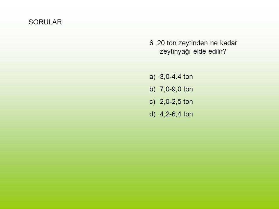 SORULAR 6. 20 ton zeytinden ne kadar zeytinyağı elde edilir 3,0-4.4 ton. 7,0-9,0 ton. 2,0-2,5 ton.