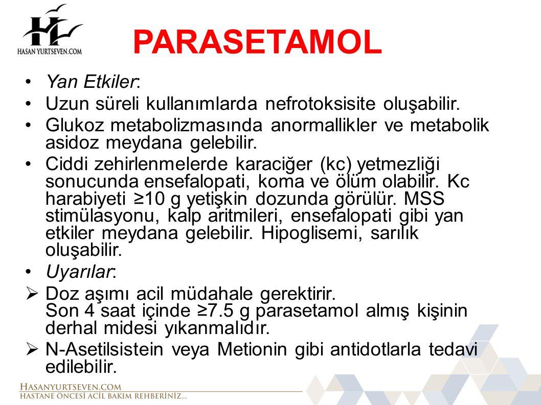 PARASETAMOL Yan Etkiler: