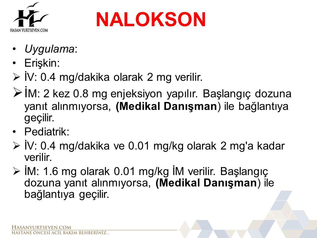 NALOKSON Uygulama: Erişkin: İV: 0.4 mg/dakika olarak 2 mg verilir.
