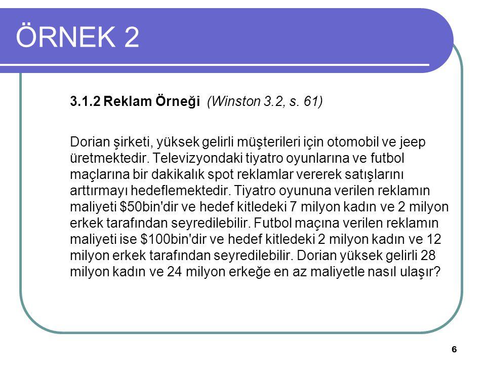 ÖRNEK 2 3.1.2 Reklam Örneği (Winston 3.2, s. 61)