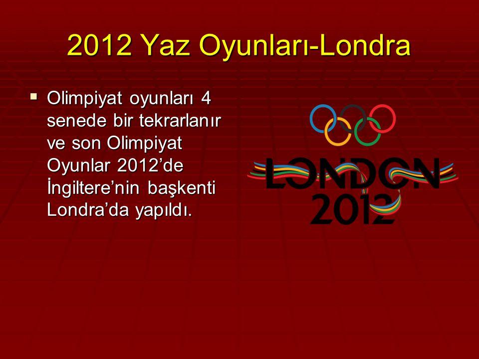 2012 Yaz Oyunları-Londra Olimpiyat oyunları 4 senede bir tekrarlanır ve son Olimpiyat Oyunlar 2012'de İngiltere'nin başkenti Londra'da yapıldı.