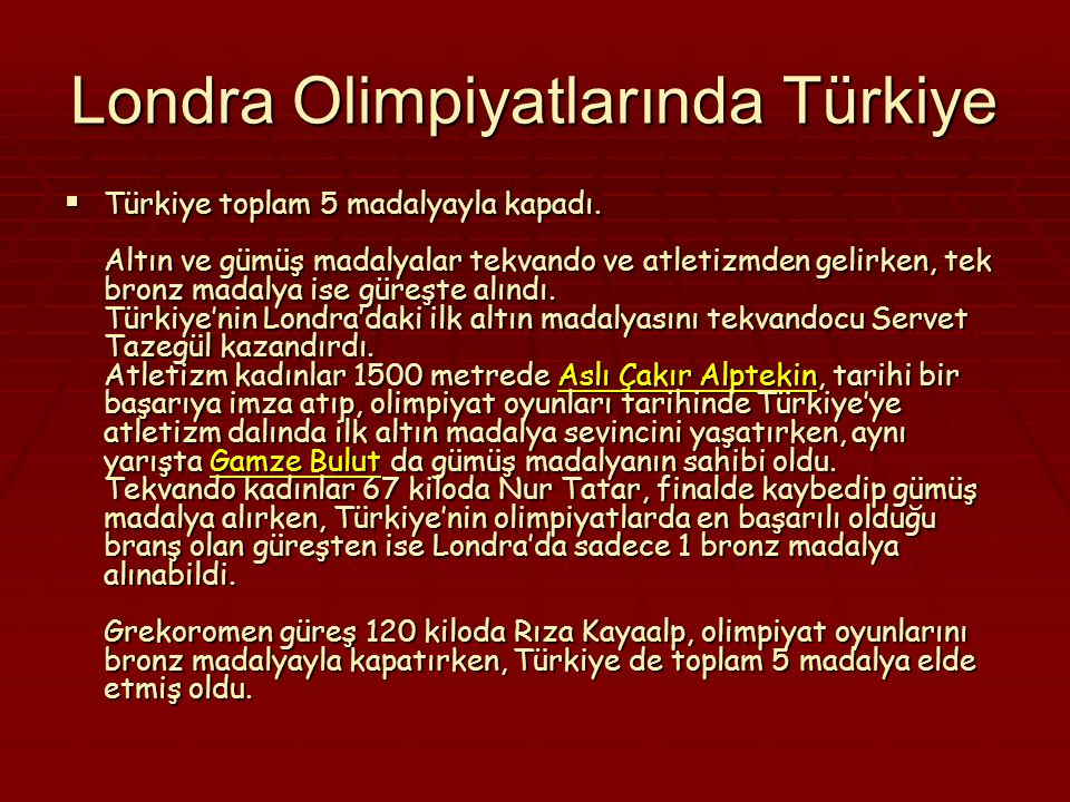 Londra Olimpiyatlarında Türkiye